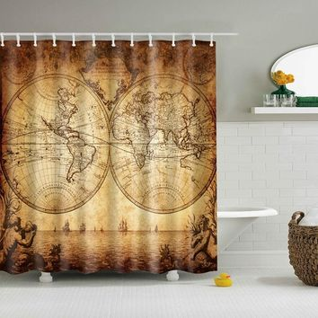 New Design Colorful Eco-friendly World Map Polyester High Quality Washable Bath Decor Shower Curtains