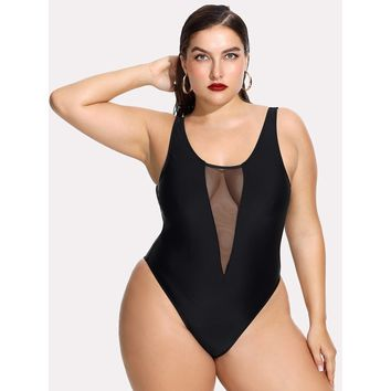 Mesh Panel Open Back Swimsuit