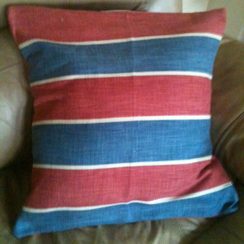 """Patriotic red white blue pillow cover  18 1/2"""" x 18 1/2""""   upholstery fabric"""