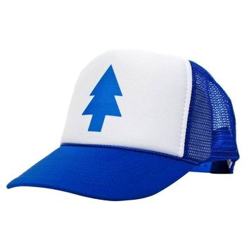 Summer Unisex Curved Bill BLUE PINE TREE Dipper Gravity Falls Cartoon Hat Cap Trucker