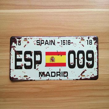 Retro License plate Spain metal Wall art Decor House Coffee garage poster iron decoration vintage painting 15*30CM
