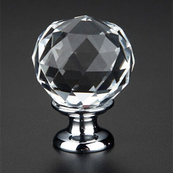 10Pcs K9 Clear Crystal Round Knob Furniture Knobs Kitchen Glass Drawer Cabinets Handles Drawer Pulls Closet Decoration Handles