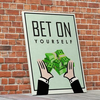 Bet On Yourself Monopoly Style Motivational Framed Canvas Wall Art