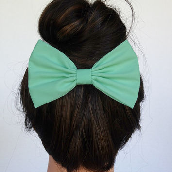 Mint Hair Bow Alligator Clip handmade accessories bow tie women hair accessory for teens mint bow for girls cheer bows trendy accessory bow