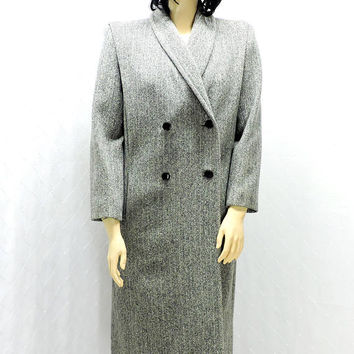 Vintage 70s full length wool coat / size 12 / 14 / herring bone gray double breasted wool coat / Ferncroft USA / long wool winter overcoat