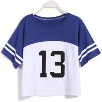 White and Blue 88 Graphic Print Loose Fitting Crop Top