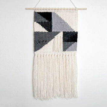 Black & White Geometric  Weaving | Hand Woven Wall Hanging