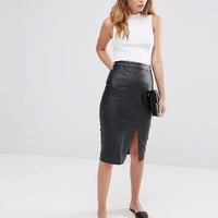 Oasis | Oasis Leather Look Split Front Midi Skirt at ASOS
