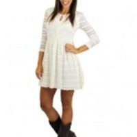 Ivory Lace Dress With High Neck