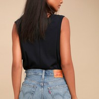 501 Medium Blue Wash Distressed Long Denim Shorts