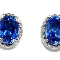 14Kt White Gold Tanzanite Oval Diamond Stud Earrings