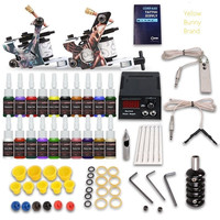 Complete Tattoo Kit needles 2 Machine Gun with tools Power Supply 20 Color Inks