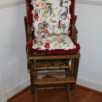 Ready to Ship Little Cowgirls Reversible High Chair Cushions, High Chair Pads, High Chair Cover, Highchair Pads