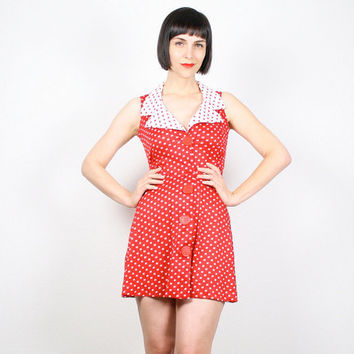 Vintage Red White Mini Dress 1960s Dress Micro Mini Dress 60s Dress Dolly Dress Waitress Uniform Sundress Scooter Mod Dress XS S Extra Small