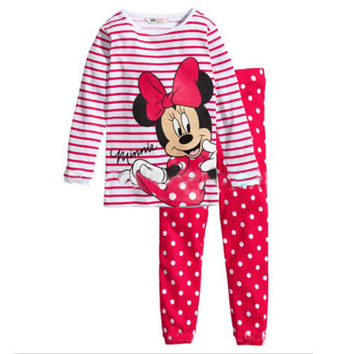 Xmas Cartoon Printed Children Girls Pajamas Sets Long Sleeve Sleepwear Sets Kids Girls Cotton Pyjamas  Fall Girls Pajamas