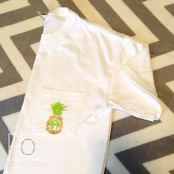 Comfort Colors Pineapple Monogrammed Pocket Tee (Unisex)