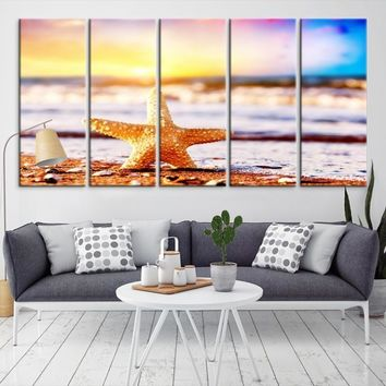 68287 - Starfish on the Beach Large Wall Art Canvas Print