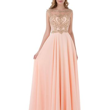 Womens Gold Applique Beaded Bridesmaid Dresses Long Formal Prom Party Gowns