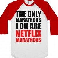 Netflix Marathons-Unisex White/Red T-Shirt