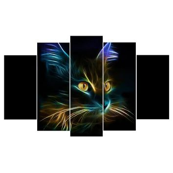 Abstract Light Cat HD 5 Pice Panel Pcs Canvas Wall Ar Canvas Panel Print Picture
