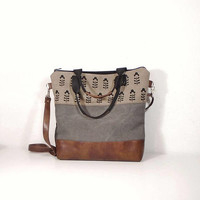 Cotton and leather gray bag, waxed gray canvas bag, zipper tote bag, canvas beige crossbody bag, brown leather hobo bag, Toffee bag, day bag
