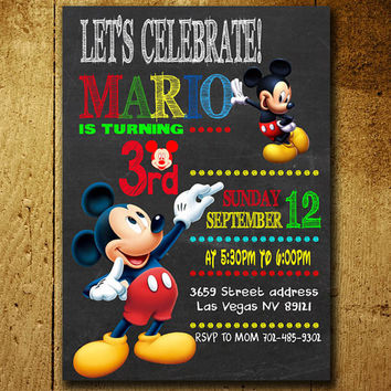 Invitations - Mickey Mouse Invitation - Mickey Mouse Birthday - Mickey Mouse Invitations - Free Shipping