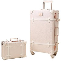 Women Environmental PP and PU Leather Spinner Luggage Suitcase and Cosmetic Bag Set