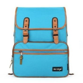 [HotStyle Basic Classic] SmileDay Vintage Laptop Backpack for College School, SkyBlue