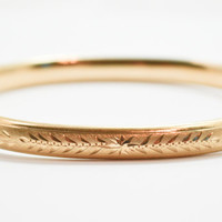 Vintage Mid Century 1960's Engraved Gold Filled Hinged Bangle Bracelet