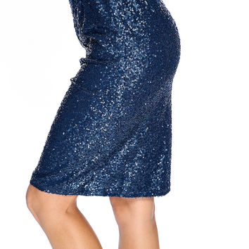 Sexy Navy Sequins High Waist Pencil Skirt