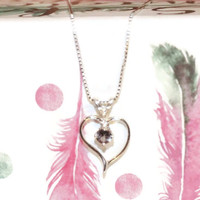 Heart Necklace, Sterling Silver Pendant, Alexandrite Necklace, 18 Inch Sterling Silver Chain