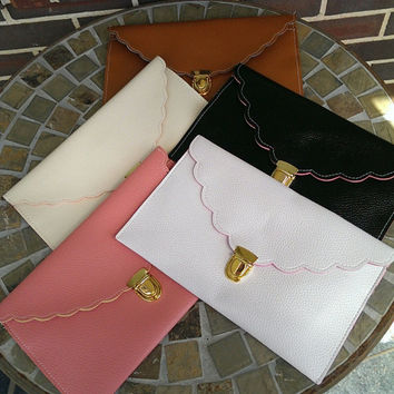 Scallop Edge Monogrammed Envelope Clutch Purse with Gold Chain Bridesmaid Gift Bride Shower