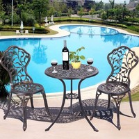 Giantex 3 Piece Bistro Set Cast Leaf Design Antique Outdoor Patio Furniture Outdoor Furniture Garden Set OP2977