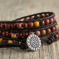 Mookaite beaded bracelet. Multicolor earthy jewelry. Sunflower button wrap bracelet - Edit Listing - Etsy