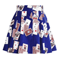 Blue Dynamo Playing Cards Velvet Mini Skirt by Olympia Le-Tan - Moda Operandi