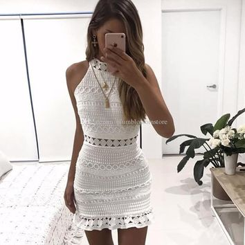 Elegant hollow out lace dress women sleeveless summer style midi white dress new Spring short casual hollow party evening dress vestidos