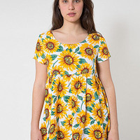 Sunflower Printed Rayon Babydoll Dress