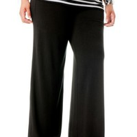 Motherhood Maternity: Plus Size Secret Fit Belly(tm) Jersey Knit Ruched Wide Leg Maternity Pants...