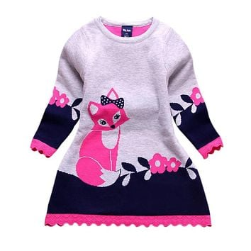 Toddler Baby Kids Clothes Long Sleeve Fox Print Sweater Dress Warm Winter Kids Girl Party Wear Disfraz Princesa 2-7Y