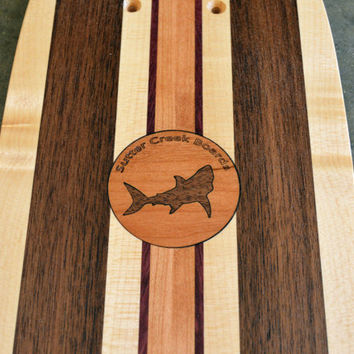 "22 inch Mini Penny kicktail Skateboard ""Honolua Bay"" with shark inlay, deck only"