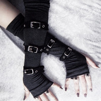 Entwined Angel Arm Warmers - Gothic Unisex Buckled - Charcoal Heather Grey Silver Metal Buckles Black Straps - Visual Men Punk Dark Vampire
