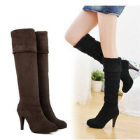 Botines Female Winter Boots For Women Over The Knee High Thigh Boots High Heel Leather Suede Boots Botas Mujer Femininas Ladies Shoes 3372