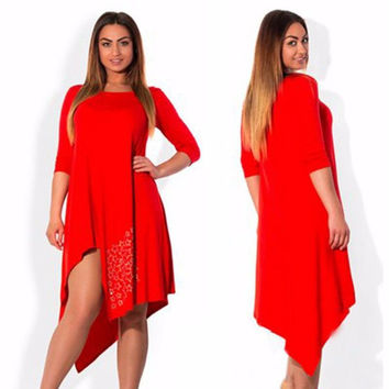 2016 autumn winter red vintage party dress casual long sleeve women vestidos dress plus size solid loose party dresses 2xl