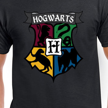 Harry Potter Inspired Hogwarts Colored Logo T-Shirt of Gryffindor, Slytherin, Hufflepuff, and Ravenclaw
