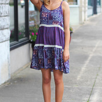 Boho Bliss Layered Dress {Purple}