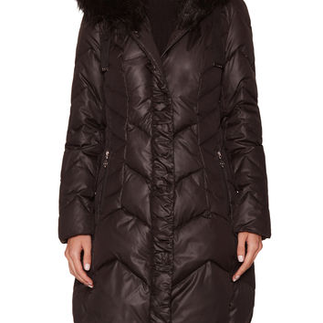 Tahari Outerwear Women's Mia Quilted Hooded Coat with Faux Fur Trim - Black