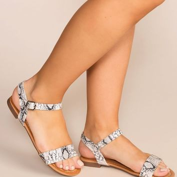 About Town White Snakeskin Print Sandals