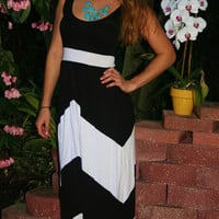Black & White Chevron Maxi Dress