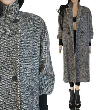 Long Speckled Wool Coat Gray Slouchy Batwing Maxi Warm Winter Outerwear Boho Hipster New Wave 80s 90s Clothing Womens Size Large