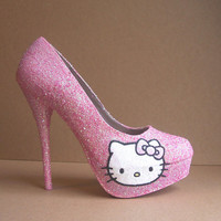 Pink Hello Kitty Glitter High Heels
